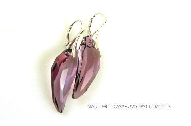 """Zilveren Oorringen met Swarovski Elements Pegasus """"Antique Pink"""""""