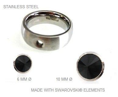 Bague en acier inoxydable avec des pierres Swarovski amovibles