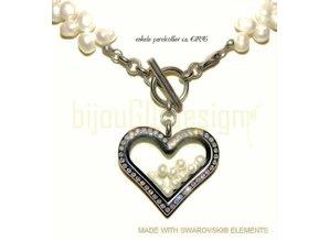 Bijou Gio Design™ Perlenkette mit Edelstahlspeicher Medaillon, Mini-Foto Charme und Miniperlen
