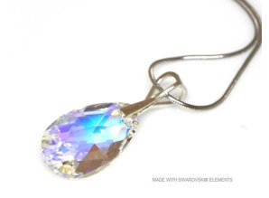 "Silber Halskette mit Swarovski Elements Pear-Shaped ""Crystal AB"""