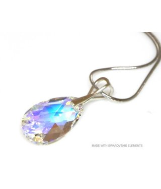 "Bijou Gio Design™ Silver Necklace with Swarovski Elements Pear-Shaped ""Crystal AB"""