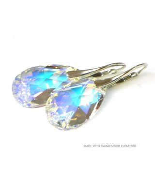 "Bijou Gio Design™ Zilveren Oorringen met Swarovski Elements Pear-Shaped ""Crystal AB"""
