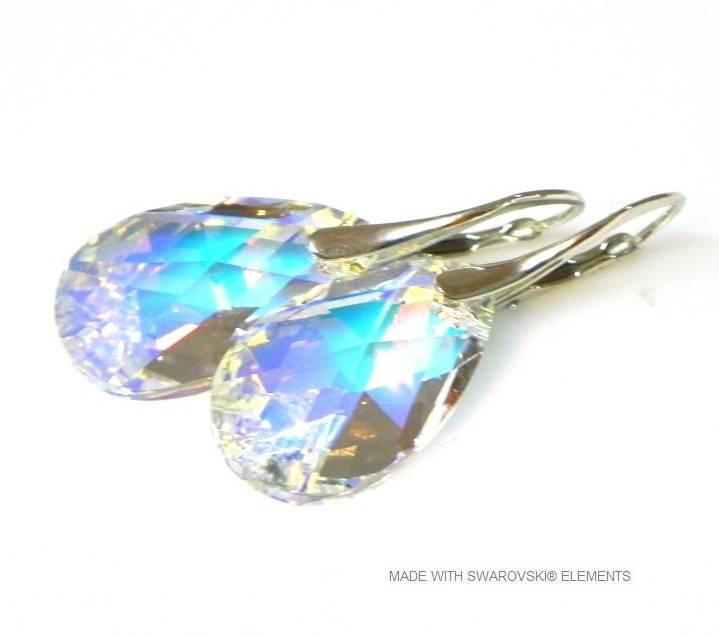 """Zilveren Oorringen met Swarovski Elements Pear-Shaped """"Crystal AB"""""""