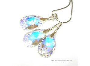 """Bijou Gio Design™ Set Silber Ohrringe und Halskette mit Swarovski Elements Pear-Shaped """"Crystal AB"""""""