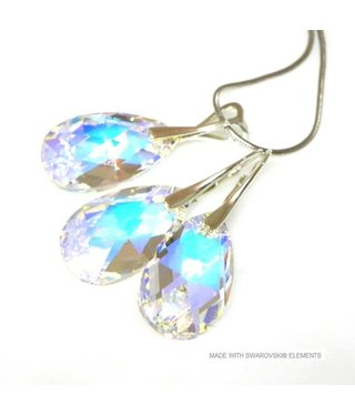 "Bijou Gio Design™ Set Silver Earrings and Necklace with Swarovski Elements Pear-Shaped ""Crystal AB"""