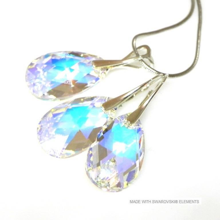 Bijou Gio Design™ Set Argent Boucles d'oreilles et Collier avec Swarovski Elements Pear-Shaped «Crystal AB»