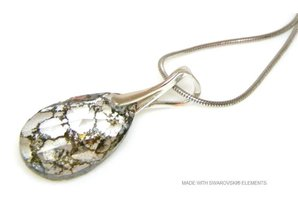 "Silber Halskette mit Swarovski Elements Pear-Shaped ""Crystal Gold Patina"""