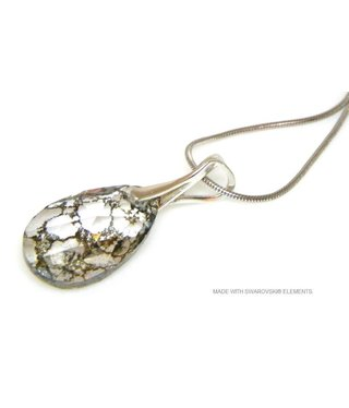 "Bijou Gio Design™ Zilveren Ketting met Swarovski Elements Pear-Shaped ""Crystal Gold Patina"""