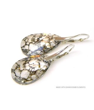 "Bijou Gio Design™ Silver Earrings with Swarovski Elements Pear-Shaped ""Crystal Gold Patina"""
