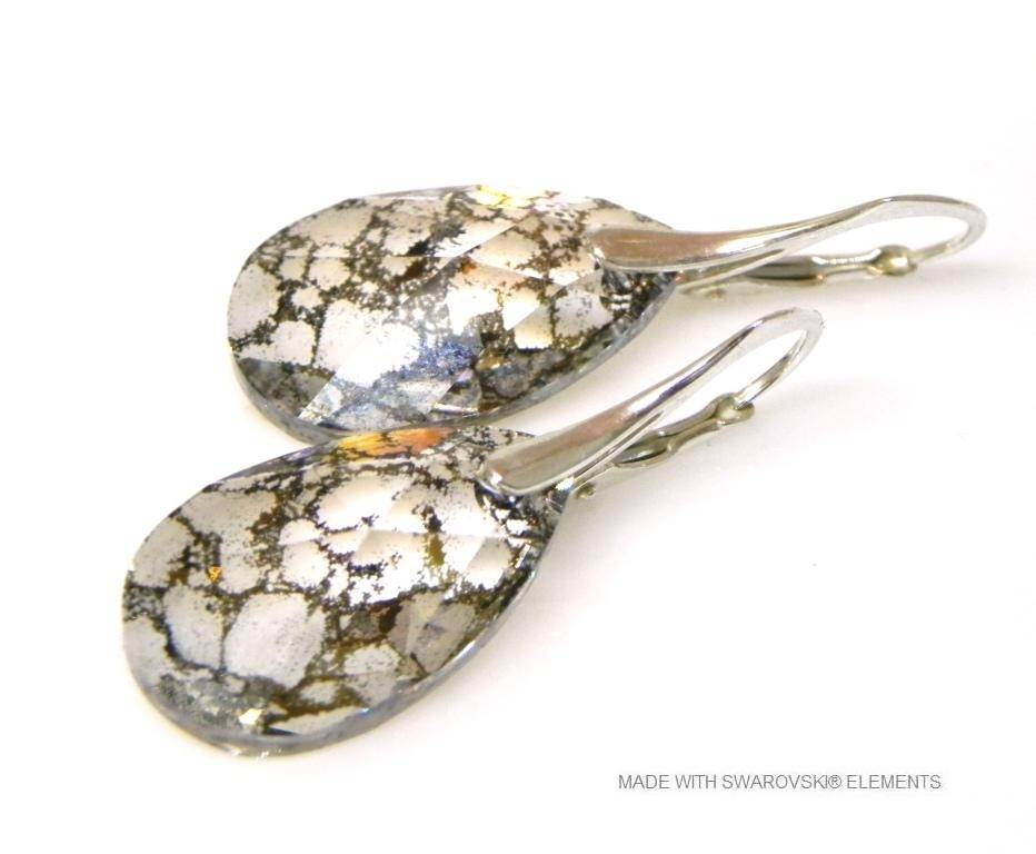 "Zilveren Oorringen met Swarovski Elements Pear-Shaped ""Crystal Gold Patina"""
