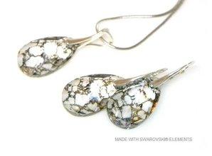 "Bijou Gio Design™ Set Silber Ohrringe und Halskette mit Swarovski Elements Pear-Shaped ""Crystal Gold Patina"""