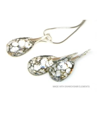 "Bijou Gio Design™ Set 925 met Swarovski Elements Pear-Shaped ""Crystal Gold Patina"""