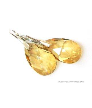 """Bijou Gio Design™ Zilveren Oorringen met Swarovski Elements Pear-Shaped """"Golden Shadow"""""""