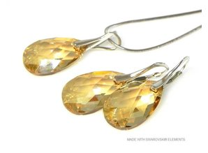 "Bijou Gio Design™ Set Zilveren Oorringen en Ketting met Swarovski Elements Pear-Shaped ""Golden Shadow"""