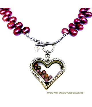 Bijou Gio Design™ Pearl Collier with Stainless Steel Memory Locket, mini Photo charm and mini Pearls