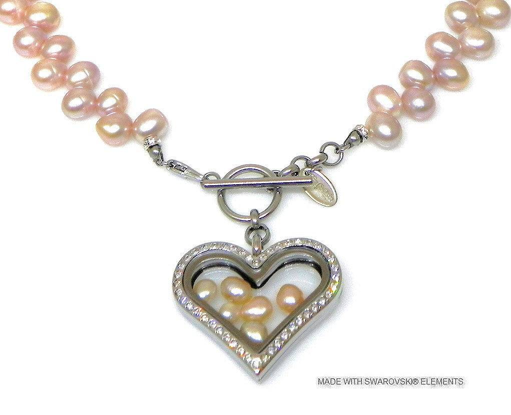 Bijou Gio Design™ Pearl Collier with Stainless Steel Memory Locket ...
