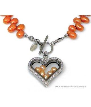 Bijou Gio Design™ Parelcollier met RVS glazen hart medaillon, mini foto bedel en mini zoetwaterparels