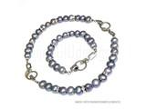 Bijou Gio Design™ Conjunto brazalete de perlas de acero inoxidable y el collar de perlas