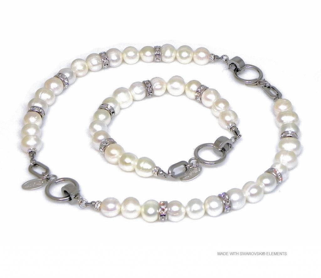 Bijou Gio Design™ Set en acier inoxydable Bracelet de perles et collier de perles