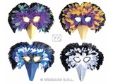 Carnival-accessories: Multi-colour Venetian feathers-masks Mask, in different colours