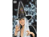 Carnival headgears:  Witchhat with glitter decoration