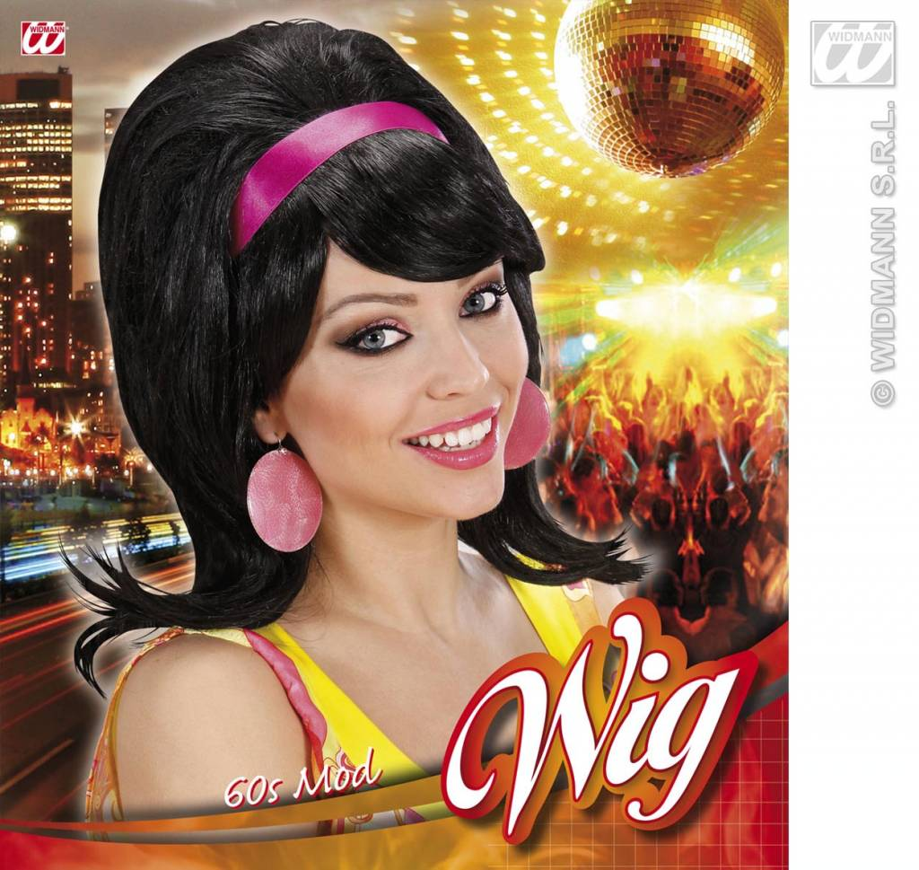 Populair Carnival-accessories: Wig 60-ties with headband - Fancy dress @JR82