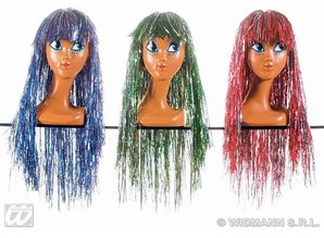 Carnival-accessories: Disco-wig bi-color (lurex) Assorti, only per 6 available