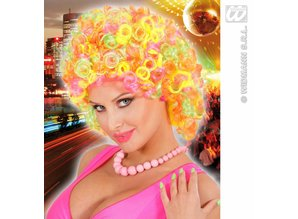 Carnival-accessories: Curly mix neon wig