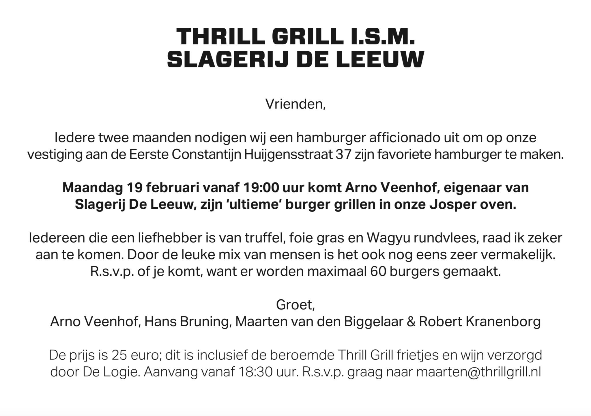 Burger Night Thrill Grill & Slagerij De Leeuw