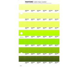Pantone PMS Solid Chips vervangingspagina op coated papier 198C, kleurnummers 372C - 373C - 374C - 375C - 376C - 377C - 378C