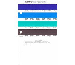 Pantone PMS Solid Chips vervangingspagina op uncoated papier 1.3U, kleurnummers Reflex Blue U - Pro.Blue U - Green U -Black U