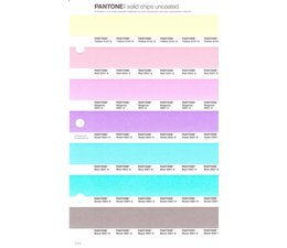 Pantone PMS Solid Chips vervangingspagina op uncoated papier 1.4U, kleurnummers Yellow 01331U - Red 0331U - Magenta 0521U - Violet 0631U - Blue 0821U - Green 0921U - Black 0961U