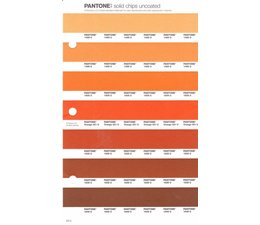 Pantone PMS Solid Chips vervangingspagina op uncoated papier 23U, kleurnummers 1485U - 1495U - 1505U - Orange 021U - 1525U - 1535U - 1545U