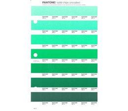 Pantone PMS Solid Chips vervangingspagina op uncoated papier 185U, kleurnummers 351U - 352U - 353U - 354U - 355U - 356U - 357U