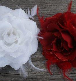 Rood en witte bloem corsage
