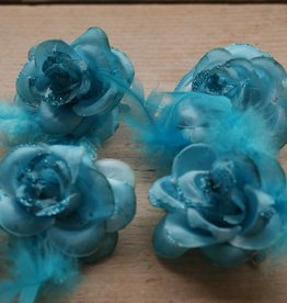 Turquoise bloemklemmetjes (4)
