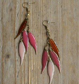 Rose /goudkleurige oorbellen veertjes