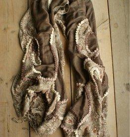 Bruine, brede sjaal met paisley motief