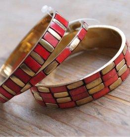 Koraalkleurige armbanden (3 st)