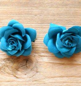 Petrolkleurige bloemetjes (2 st)