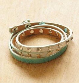 Licht turquoise wikkelarmbandje (leer)