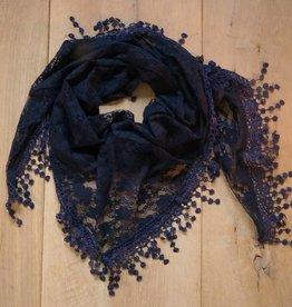 Donkerblauwe kanten sjaal
