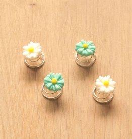 Haarspiraal met bloemetjes wit/turquoise (4)