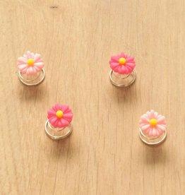Haarspiraal met bloemetjes roze (4)