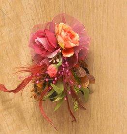 Luxe bloemcorsage oranje donker roze