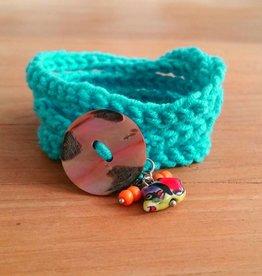 Turquoise wikkelarmband (mama)