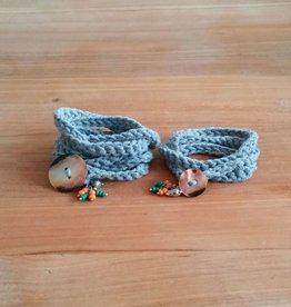 Grijze wikkelarmbandjes (mama&dochter)