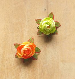 Fel groen en oranje bloemetjes (2)