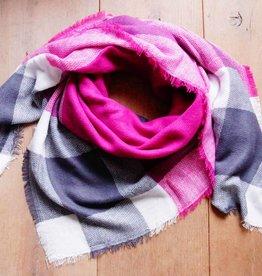 Vierkante sjaal roze/grijs