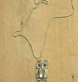 Ketting uil klein strass donker